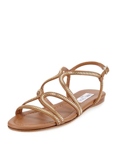 a5cd70d552b Jimmy Choo Nickel Flat Canyon Leather Flat Sandals