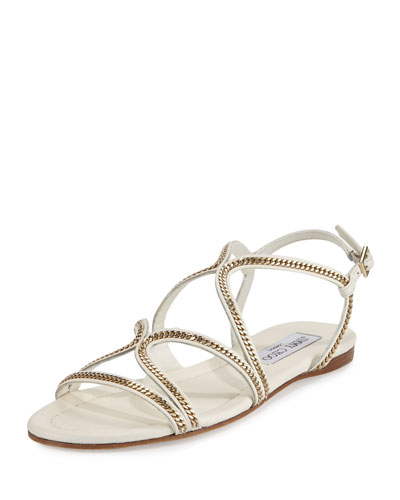 2c1c5320bc38 Jimmy Choo Nickel Flat Latte Leather Flat Sandals