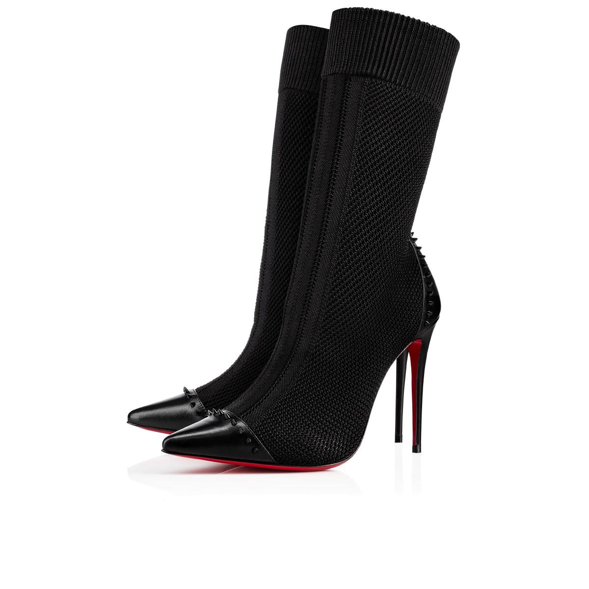 Christian Louboutin Dovi Dova 100 Studded Leather-trimmed Stretch-knit Sock Boots In Black