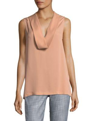 Theory Salvatill Silk Deep V-neck Blouse In Pale Rose