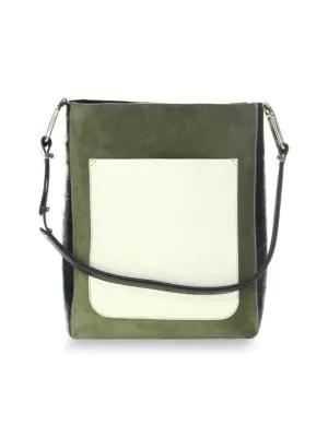 Jason Wu Julia Color Block Suede & Leather Shoulder Bag In Olive
