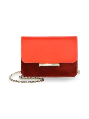 Jason Wu Diane Color Block Leather And Suede Crossbody In Rosso Chianti