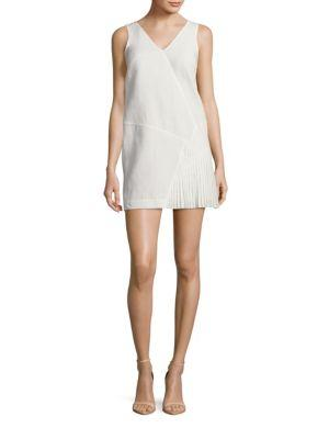 Tibi Annelie Seamed Dress In Ivory