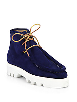 Dsquared2 Suede Lace-up Ankle Boots In Navy
