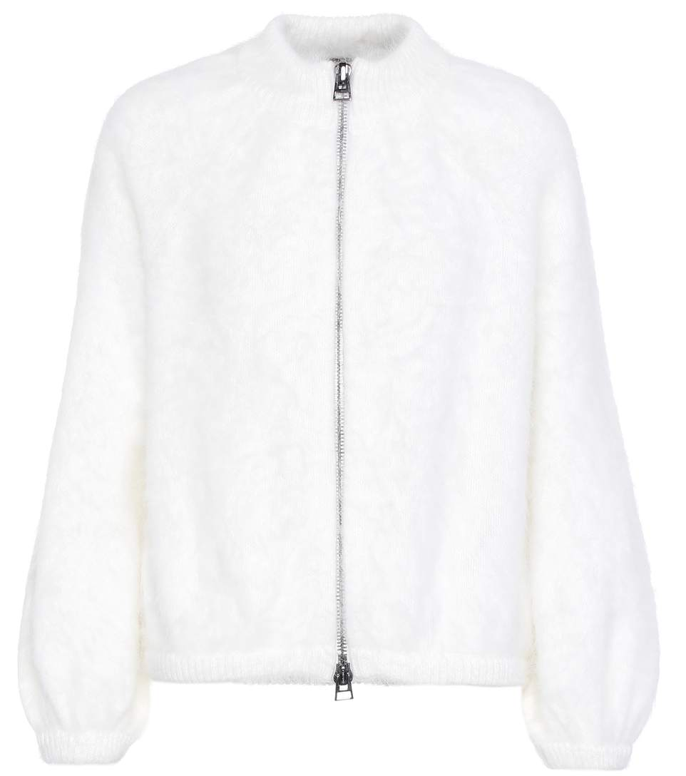 Tom Ford Angora-blend Knitted Cardigan In Chalk