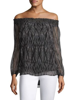 Joie Azzedine D Off-the-shoulder Silk Chiffon Top In Caviar