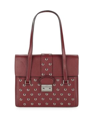 Red Valentino Eyelet -trim Leather Top Handle Bag In Red