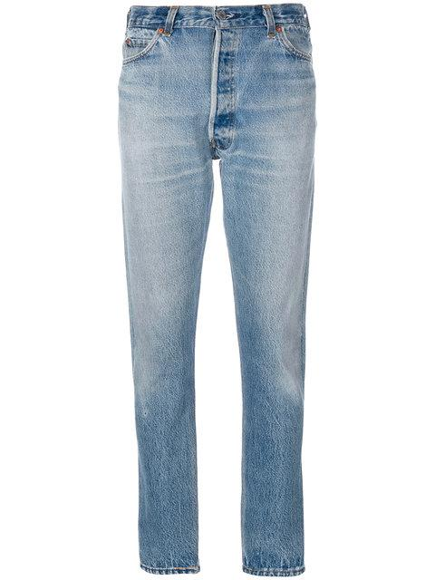 Re/done Ripped Detail Tapered Jeans