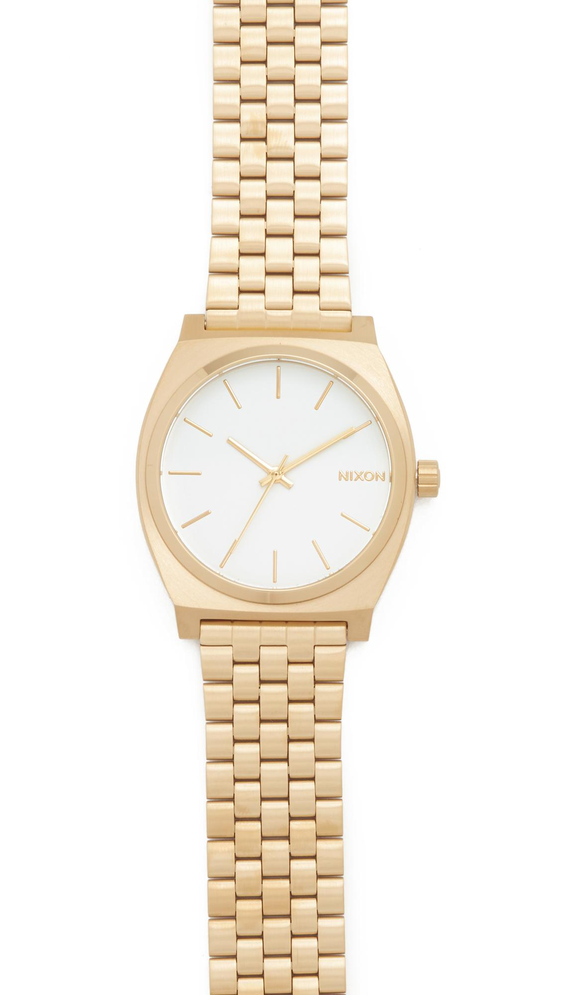 Nixon Time Teller Watch In Gold/white