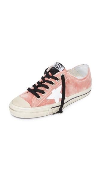 Golden Goose V-star Velvet Sneakers In Velvet Rose/white