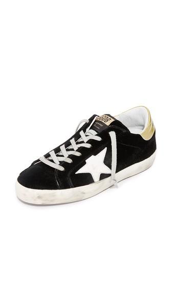 Golden Goose Superstar Velvet Sneakers In Black/white