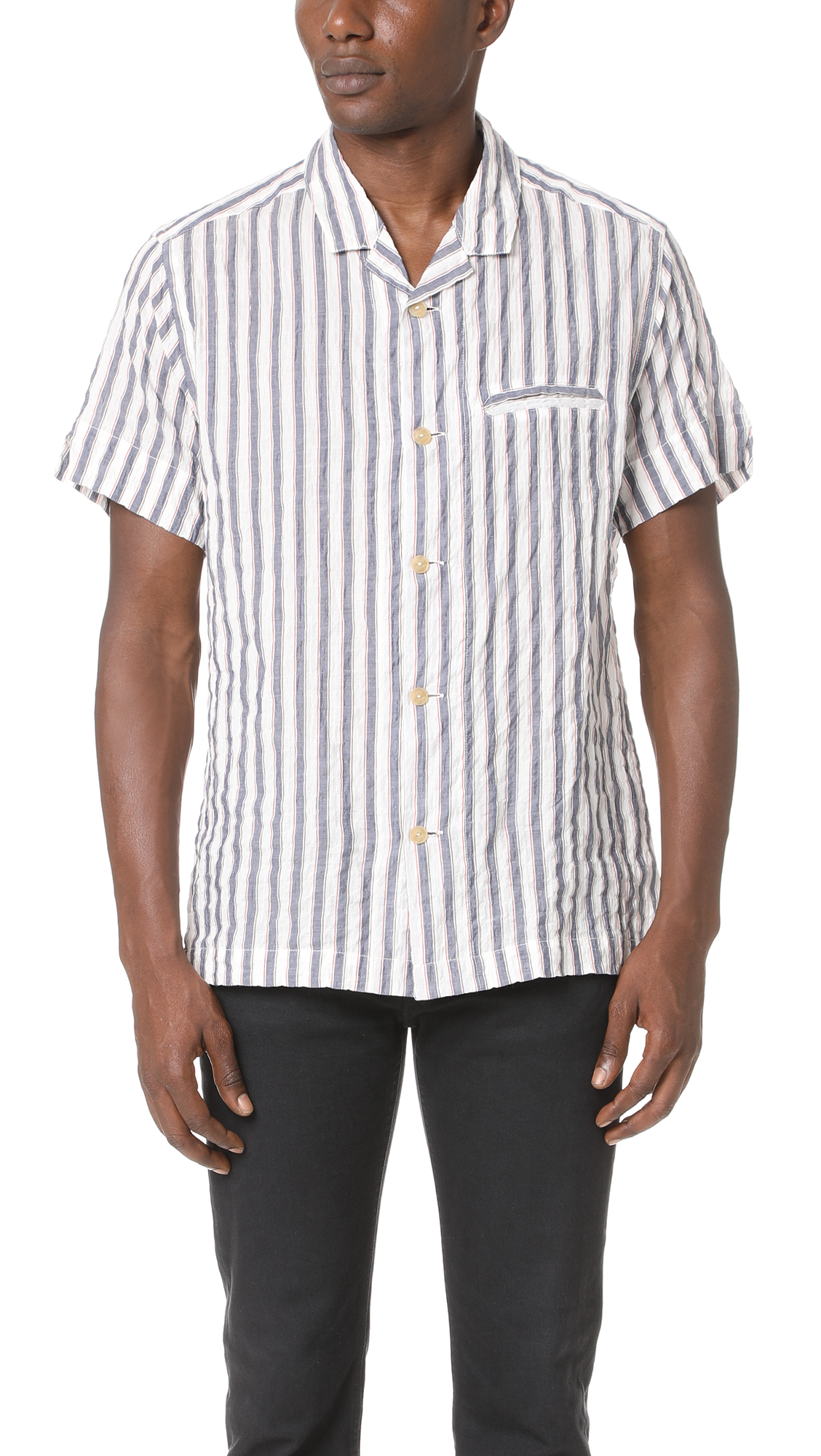 Solid & Striped The Ripley Short Sleeve Shirt In Chesapeake Stripe