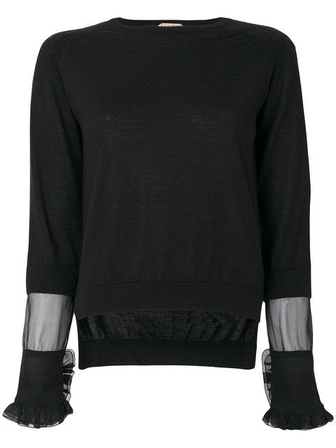 N°21 Nº21 Sheer Panel And Frill Trim Sleeve Knit Top - Black