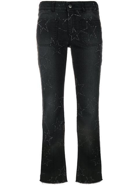 Stella Mccartney Star Stitched Crop Flare Jeans In Black