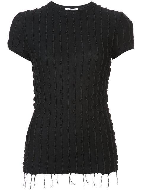 Helmut Lang Frill Detail And Fringe Hem Blouse In Black