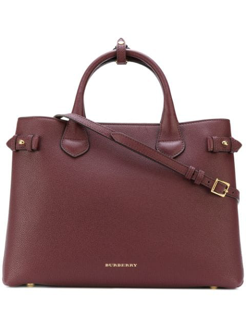 Burberry 'mini Banner' House Check Leather Tote - Red