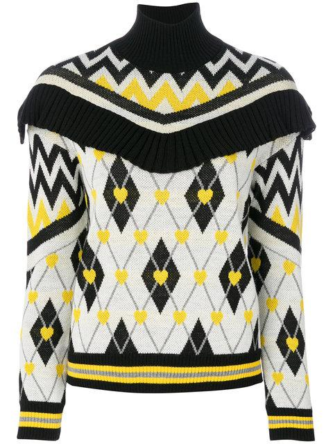 Msgm Ruffle-trimmed Jaquard Wool-blend Sweater In White