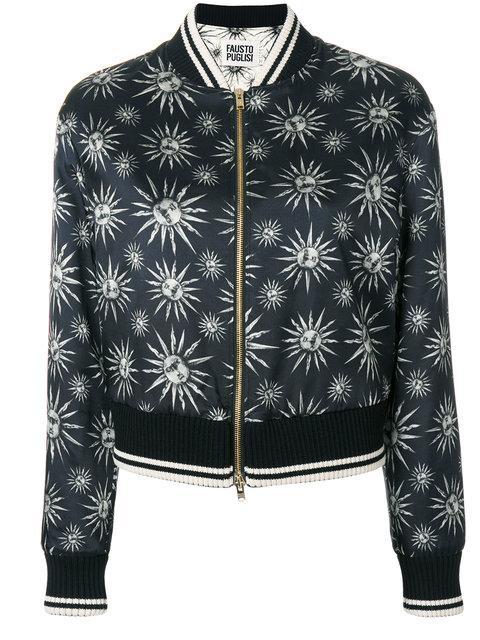 Fausto Puglisi Sun Print Bomber Jacket In Black