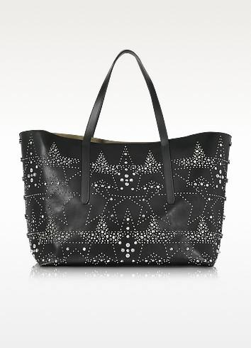 Jimmy Choo Pimlico Rock Black Leather Tote Bag With Graphic Star Studded Embellishment