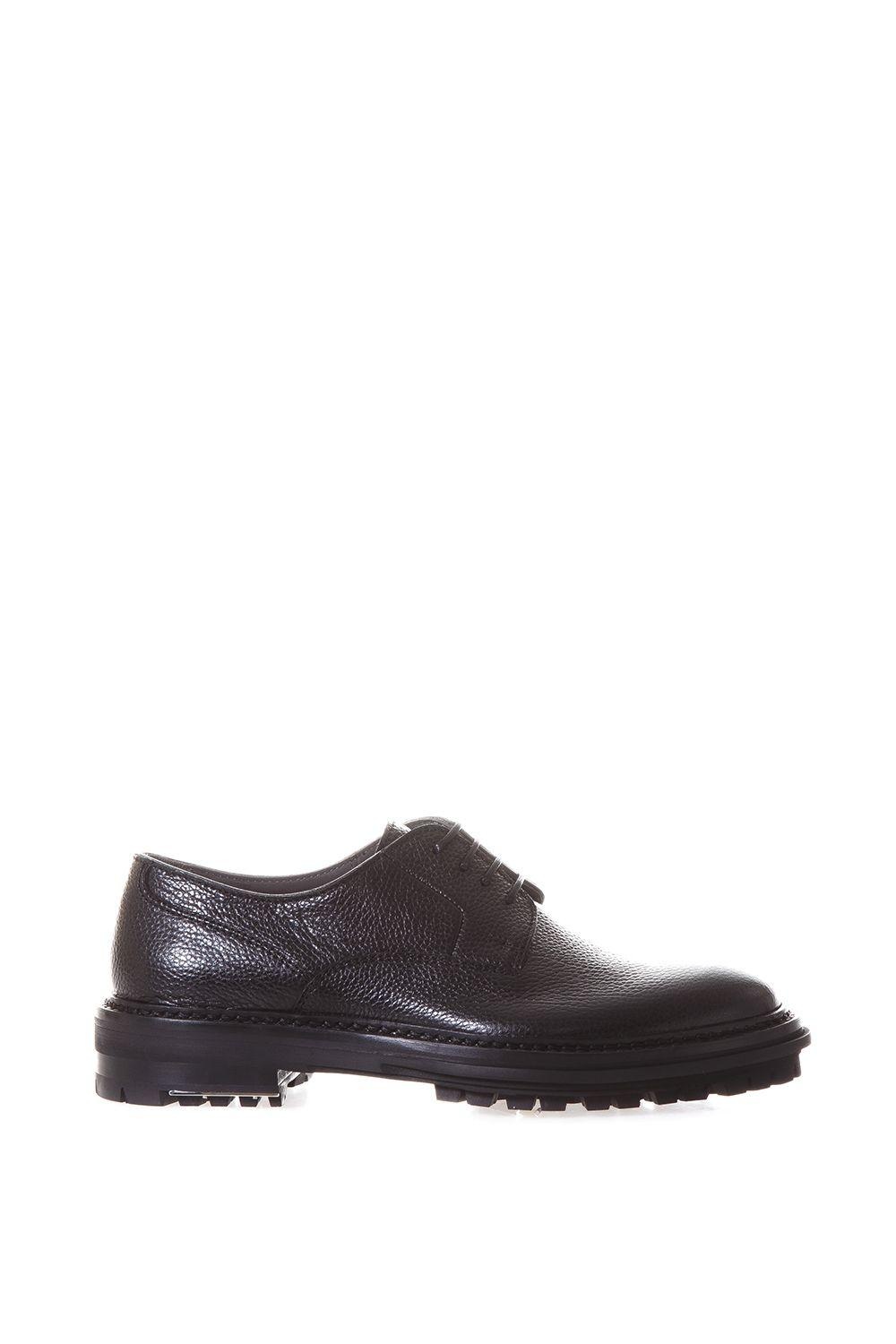 Lanvin Grained Leather Derby Shoes In Black