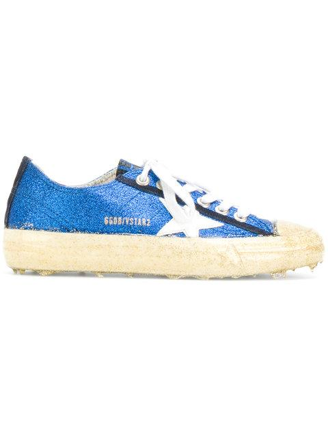 Golden Goose 'v-star 2' Patent Star Patch Glitter Sneakers In Blue
