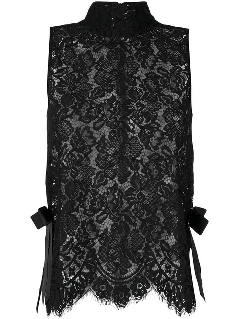 Ganni Duval Sleeveless Floral Lace-embroidered Top In Black