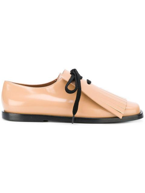 Marni Tan Leather Lace Up Shoes W/fringes