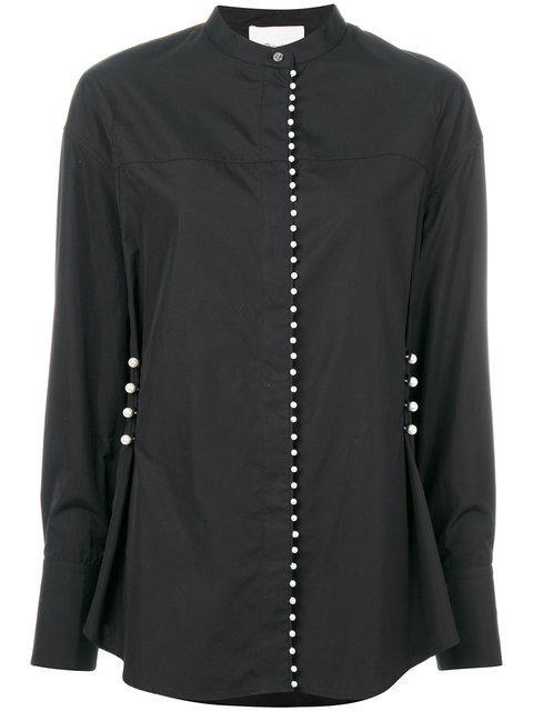 3.1 Phillip Lim Woman Faux Pearl-embellished Cotton-poplin Shirt Black