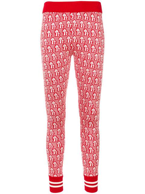Gucci Mushrooms Jacquard Knitted Legging In Red