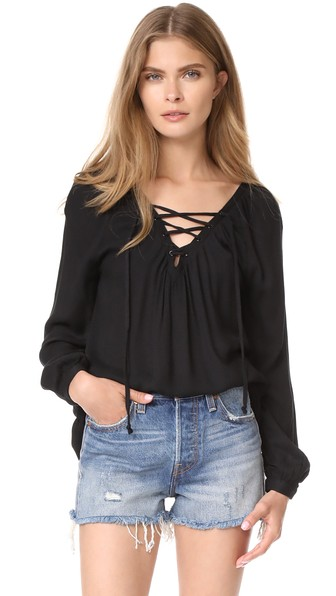 Bb Dakota Boothe Lace Up Top In Black