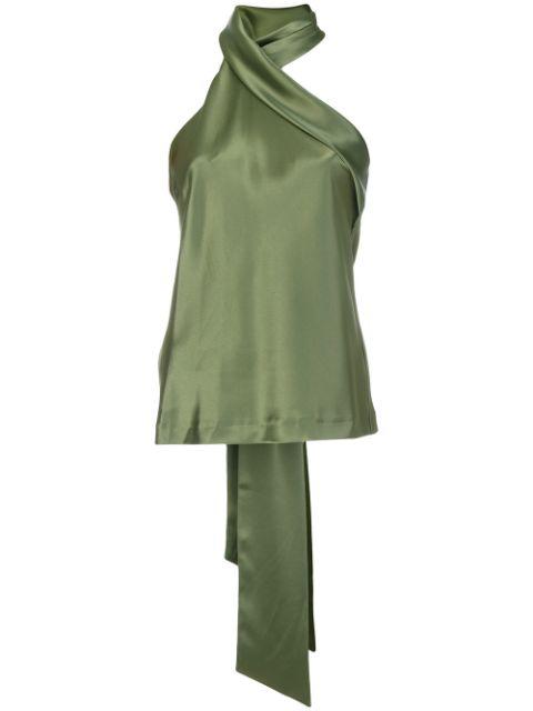 Galvan Asymmetric Sash Neck Top In Green