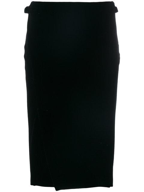 Tom Ford Slit Front Velvet Pencil Skirt In Black