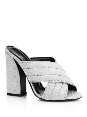 2ccacc61b Gucci Webby Metallic High Heel Slide Sandals In Silver | ModeSens