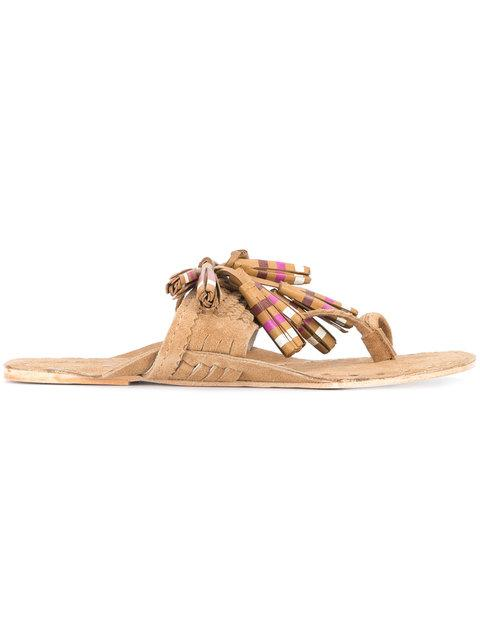Figue Scaramouche Striped Suede Tassel Sandals In Brown