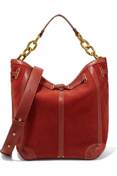 JÉrÔme Dreyfuss Tanguy Leather-trimmed Nubuck Shoulder Bag In Orange