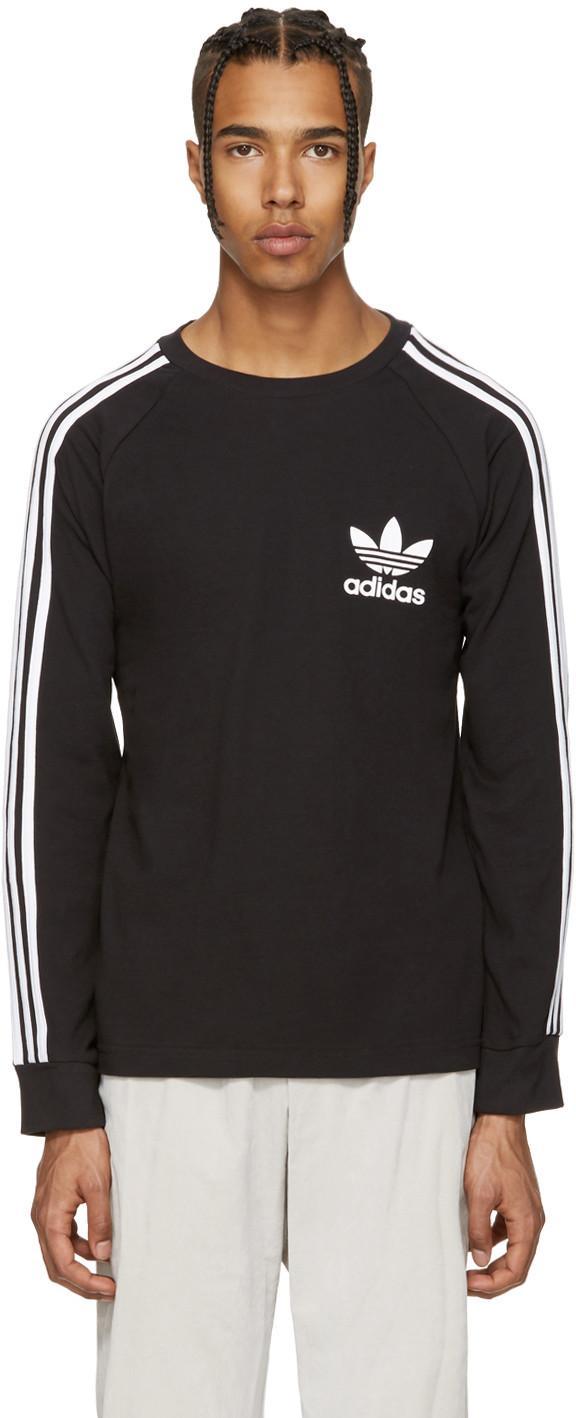 Adidas Originals 3-stripe Pique T-shirt In Black