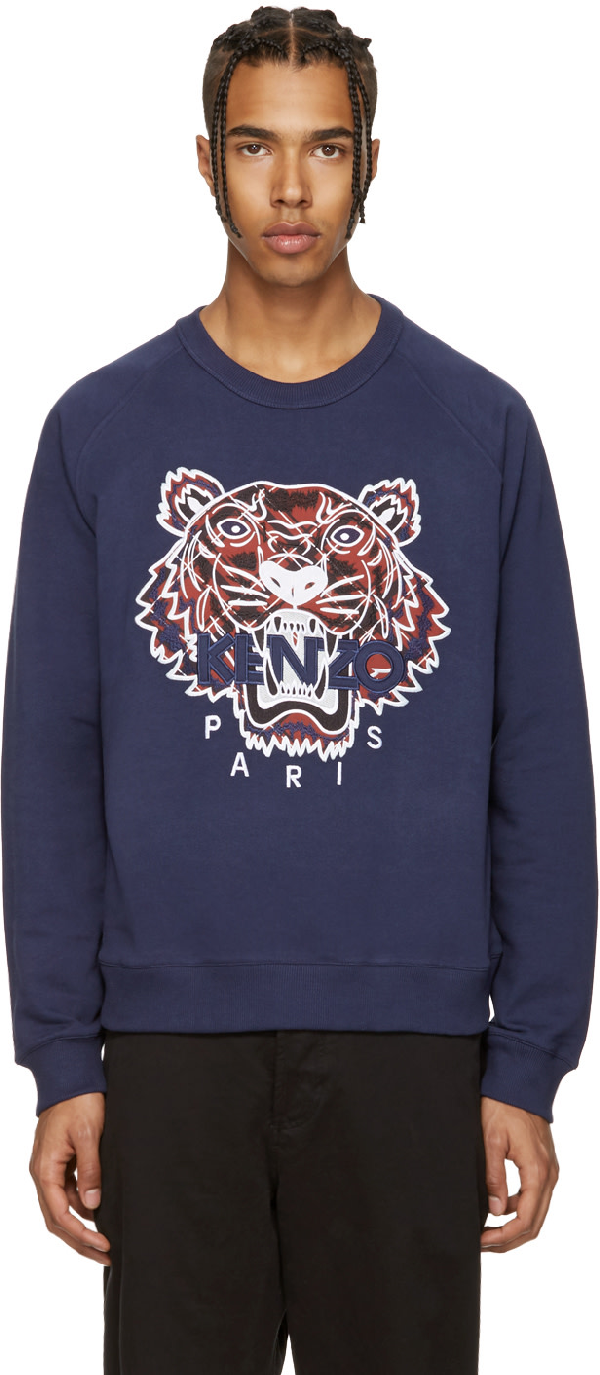 e244cbe9 Kenzo Tiger-Embroidered Cotton-Jersey Sweatshirt In 78 Ink | ModeSens