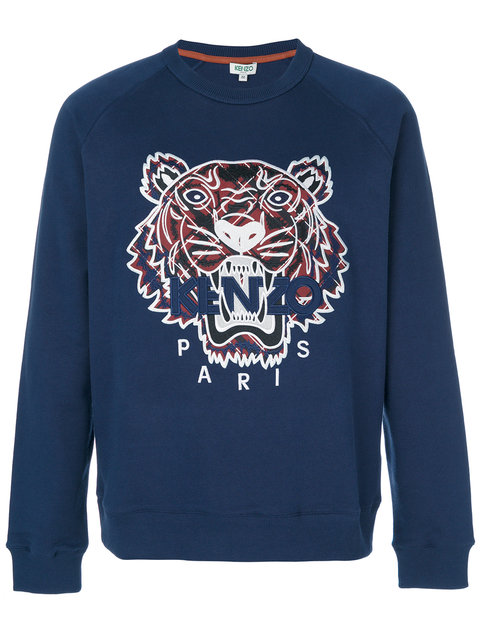 Kenzo Tiger-embroidered Cotton-jersey Sweatshirt In Navy