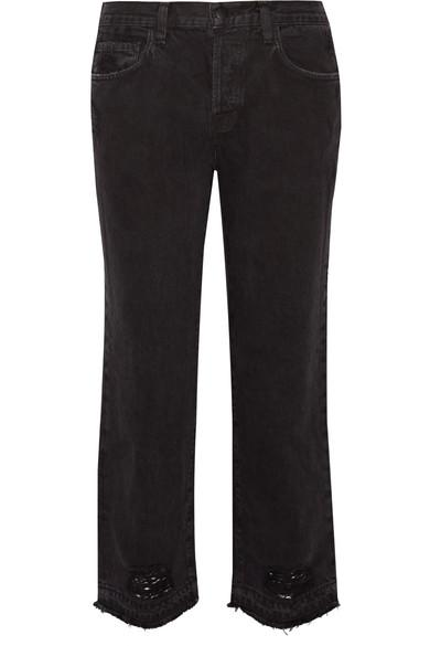 b89302e3afbb J Brand Ivy Cropped Distressed High-Rise Straight-Leg Jeans In Black ...