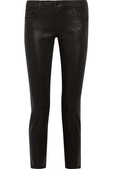 J Brand Hipster Coated Low-rise Skinny Jeans In Black