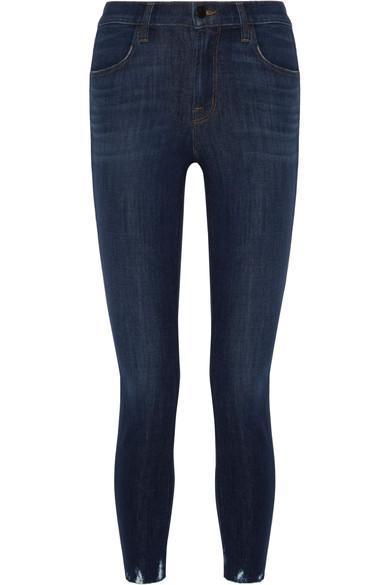 J Brand Alana Cropped Distressed High-rise Skinny Jeans In Dark Denim