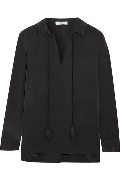 Equipment Bristol Tasseled Washed-silk Blouse In Black