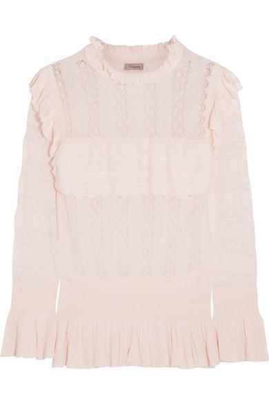 Temperley London Cypre Ruffled Pointelle-knit Sweater
