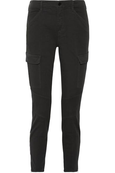 J Brand Houlihan Cropped Cotton-blend Twill Skinny Pants In Charcoal