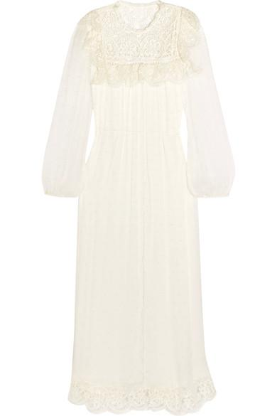 Zimmermann Meridian Circle Lace-paneled Swiss-dot Silk-crepon Midi Dress In Ivory
