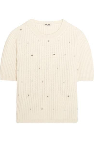 Miu Miu Pearl And Crystal-embellished Cashmere Sweater