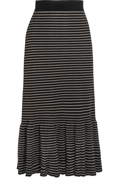 Sonia Rykiel Metallic Striped Cotton-blend Midi Skirt In Black