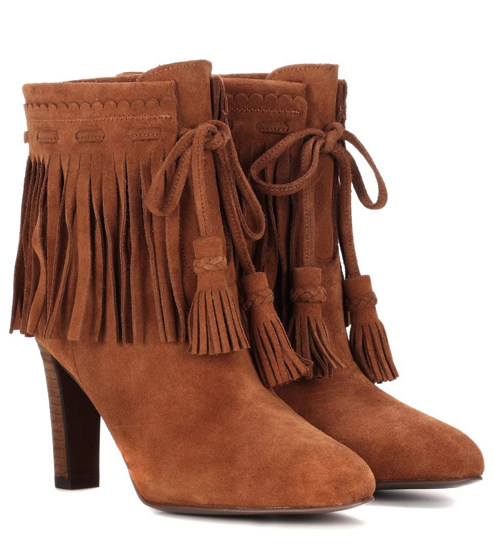 See By ChloÉ Fringed Suede Ankle Boots In Maedorla
