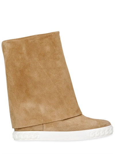 Casadei 90Mm Suede Wedge Sneakers, Sand