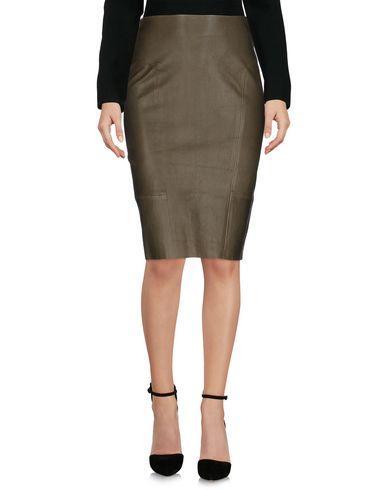 Yves Salomon Knee Length Skirt In Military Green